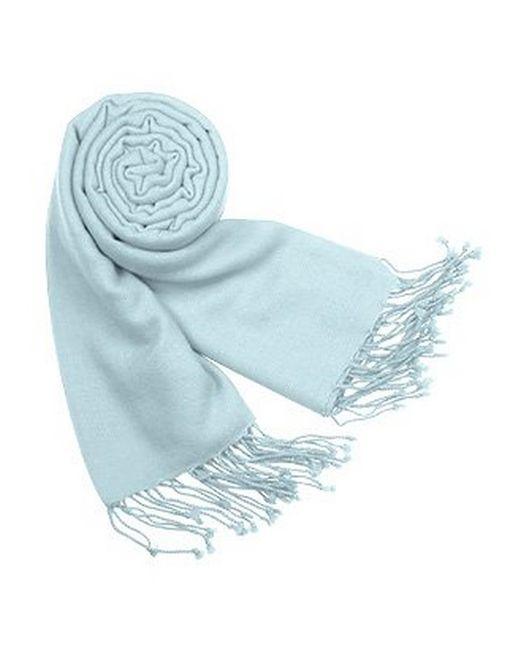 FORZIERI   Blue Solid Pure Pashmina Fringed Shawl   Lyst