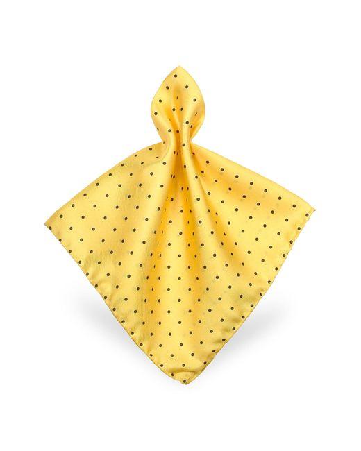 FORZIERI   Yellow Polkadot Twill Silk Pocket Square for Men   Lyst