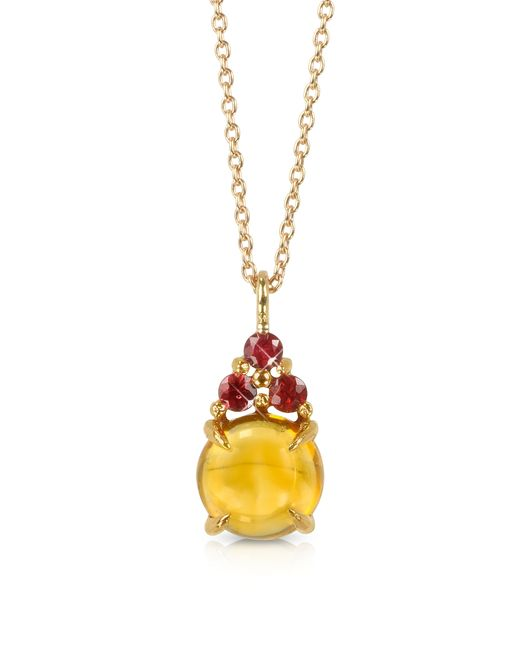 Mia & Beverly - Yellow Citrine Quartz And Red Sapphires 18k Rose Gold Pendant Necklace - Lyst
