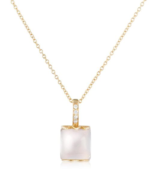 Mia & Beverly | Pink Rose Quartz 18K Gold Necklace | Lyst