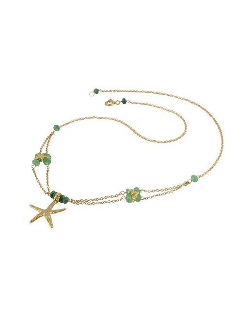Forzieri | Metallic Starfish Pendant Emerald & 18k Yellow Gold Necklace | Lyst