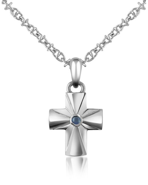 FORZIERI | Metallic Central Sapphire Stainless Steel Cross Pendant Necklace | Lyst