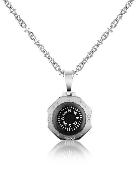 FORZIERI | Metallic Stainless Steel Compass Pendant Necklace | Lyst