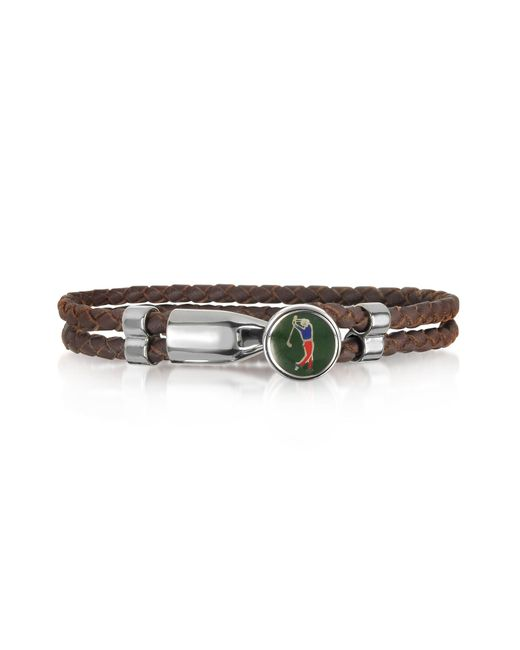 Forzieri | Green Golfer Metal And Leather Men's Bracelet for Men | Lyst