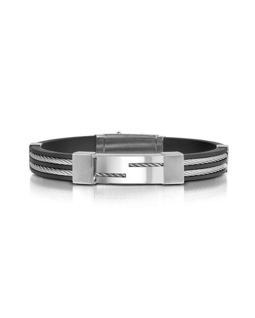 FORZIERI | Gray Men's Rubber And Stainless Steel Strand Bracelet for Men | Lyst