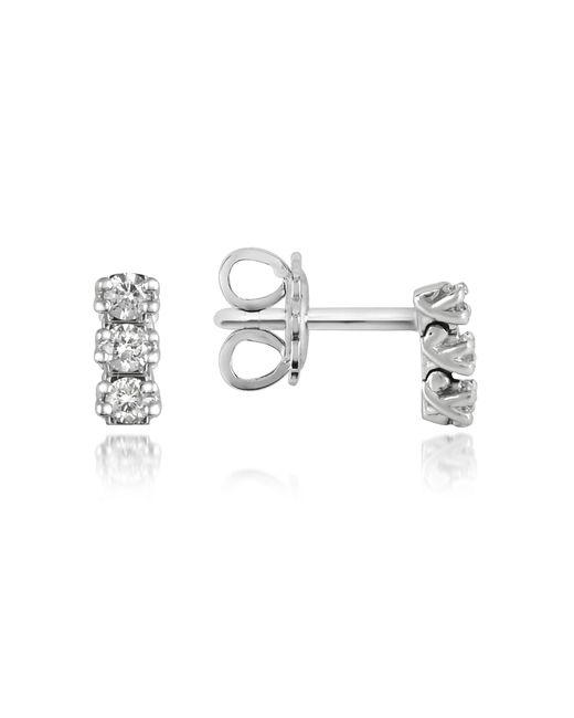 FORZIERI | White 0.22 Ctw Three-stone Drop Diamond 18k Gold Earrings | Lyst