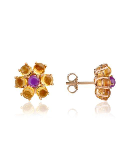 FORZIERI | Metallic Amethyst And Citrine Flower 18k Gold Earrings | Lyst
