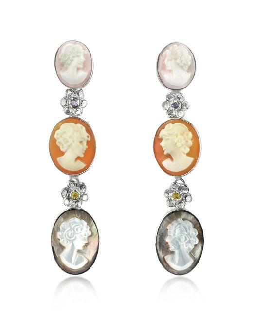 Mia & Beverly | Metallic Cameo Drop Earrings | Lyst