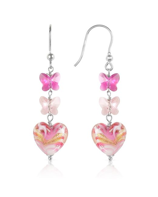 House of Murano | Mare - Pink Murano Glass Heart Drop Earrings | Lyst
