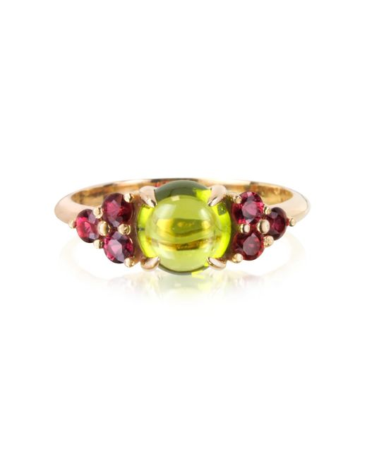 Mia & Beverly | Metallic Red Sapphires And Peridot 18k Rose Gold Ring | Lyst