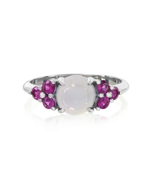 Mia & Beverly | Blue Chalcedony And Fuchsia Sapphires 18k White Gold Ring | Lyst