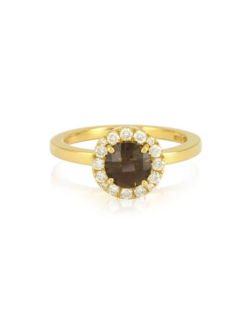 FORZIERI | Metallic 0.24 Ct Diamond Pave 18k Gold Ring W/ Smoky Quartz | Lyst