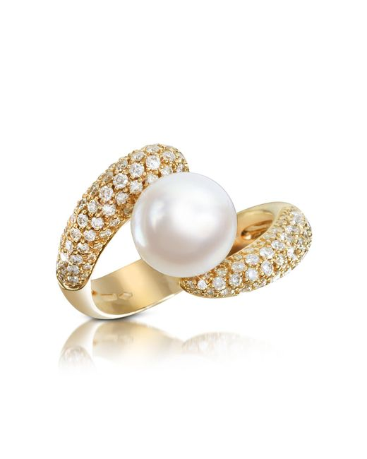 Forzieri | Metallic 0.70 Ct Diamond And Pearl 18k Gold Ring | Lyst
