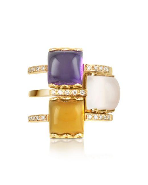 Mia & Beverly - Metallic Gemstone And Diamond 18k Rose Gold Ring - Lyst