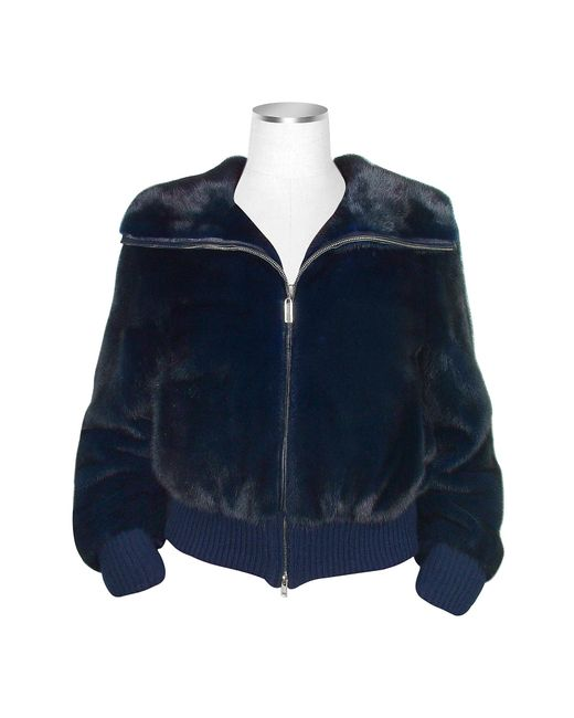 FORZIERI | Ultimate Luxury Collection Blue Mink Fur Bomber Jacket | Lyst