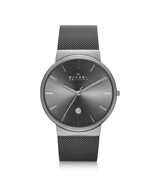 Skagen - Gray Ancher Black Stainless Steel Case Men's Watch W/mesh Strap for Men - Lyst