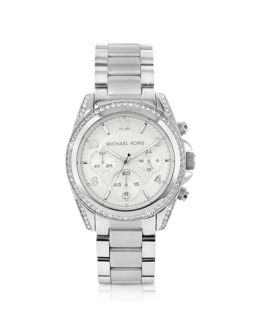 Michael Kors | Metallic Silver Runway Watch With Glitz | Lyst