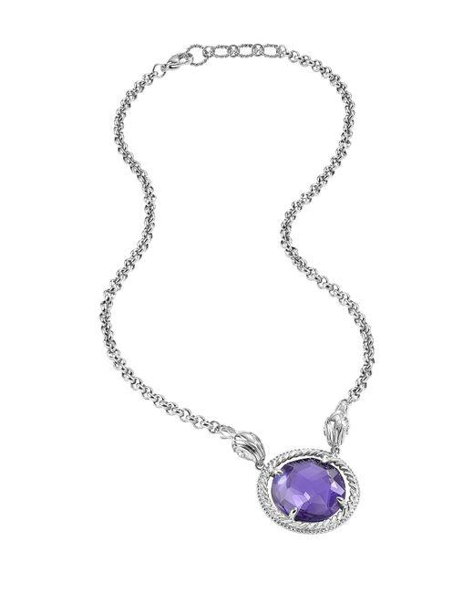 Just Cavalli   Blue Just Queen Silvertone Choker W/pendant   Lyst