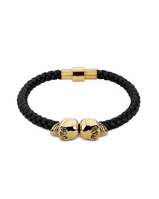 Northskull | Black Nappa Leather And 18 Kt. Gold Twin Skull Men's Bracelet | Lyst