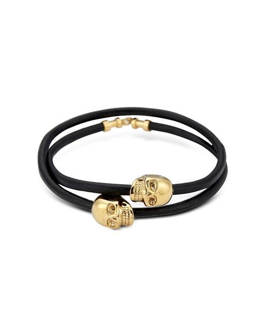 Northskull | Black Leather & 18 Kt. Gold Skull Double Wrap Bracelet for Men | Lyst