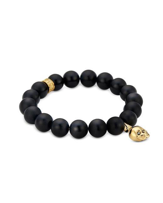 Northskull | Matte Black Onyx/silver Skull Bracelet With Black Crystal for Men | Lyst