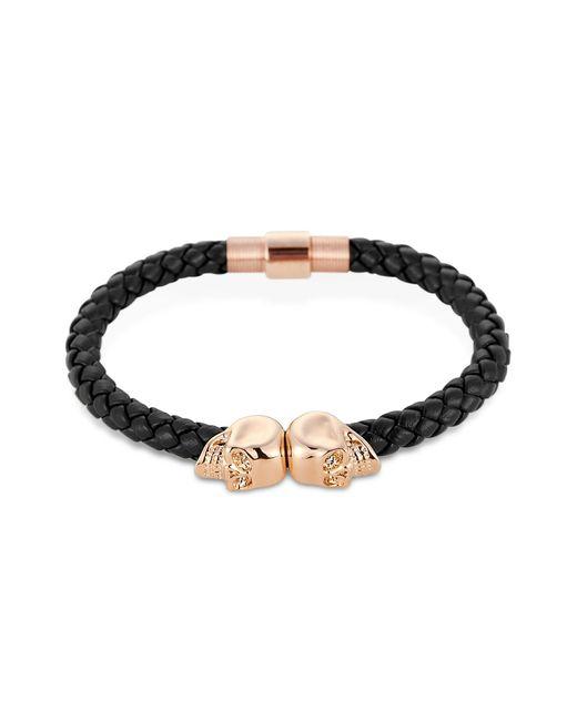 Northskull | Navy Blue Nappa Leather/ 18kt. Rose Gold Twin Skull Bracelet for Men | Lyst