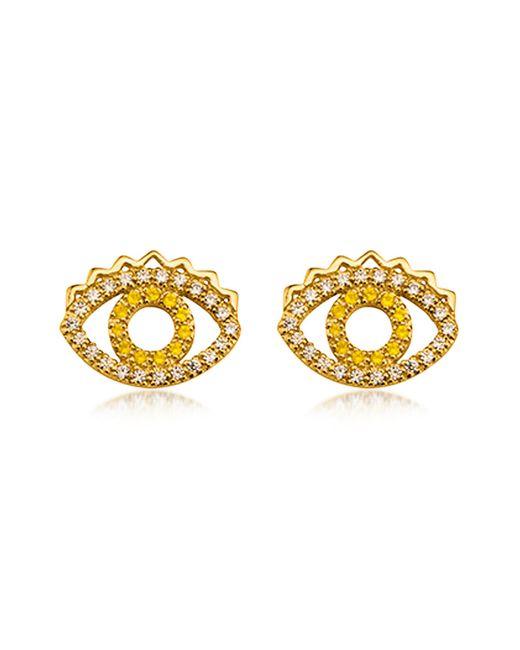 KENZO | Metallic Goldtone Mini Eye Earrings W/crystals | Lyst
