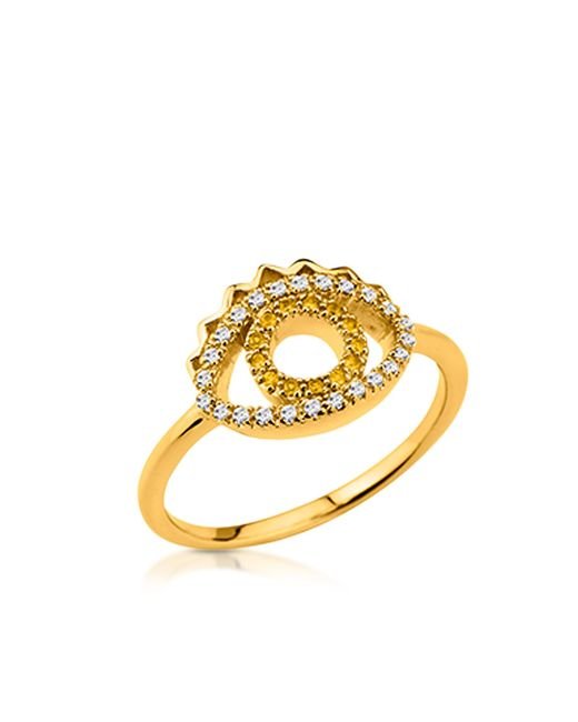 KENZO | Metallic Goldtone Mini Eye Ring W/crystals | Lyst