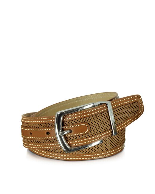 Moreschi St.barth Tan Perforated Nubuck And Leather Belt ...
