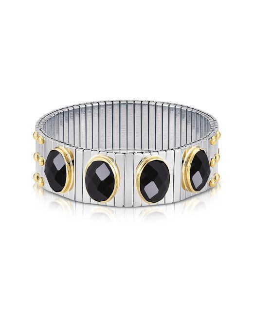 Nomination | Metallic Four Black Cubic Zirconia Stainless Steel W/golden Studs Women's Bracelet | Lyst
