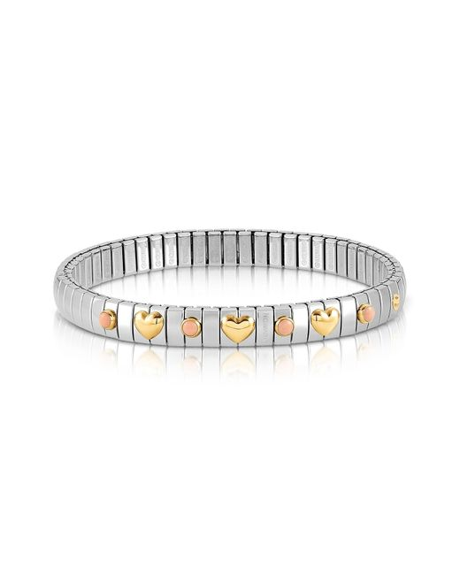 Nomination   Metallic Stainless Steel Women's Bracelet W/golden Hearts And Coral Beads   Lyst