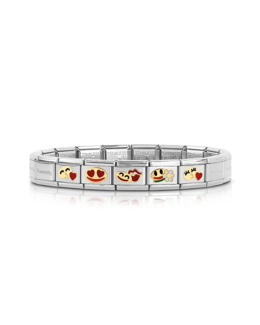 Nomination   Metallic Stainless Steel Women's Bracelet W/golden Emoticons   Lyst