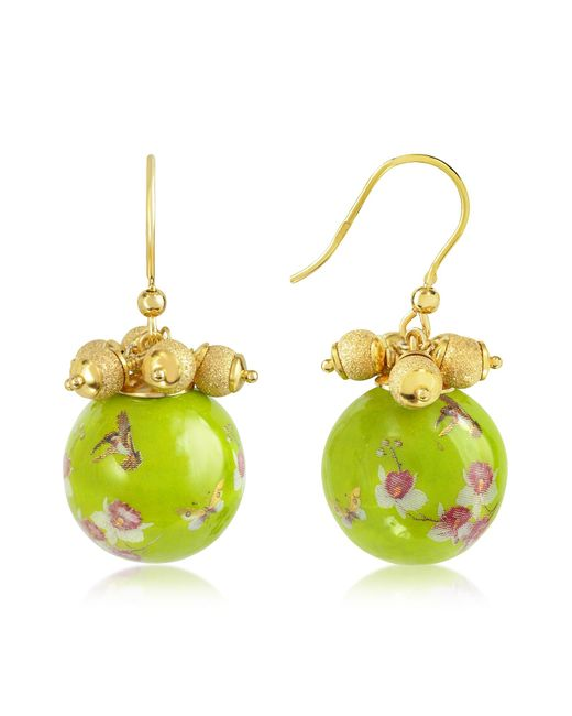 Naoto | Green Alchimia - Round Gold Foil Drop Earrings | Lyst