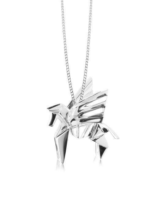 Origami Jewellery | Metallic Sterling Silver Pegasus Pendant Long Necklace | Lyst
