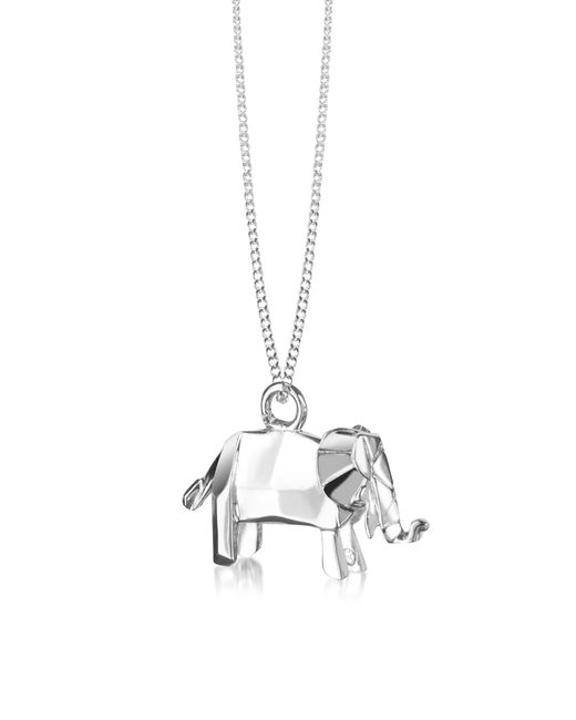Origami Jewellery | Metallic Sterling Silver Elephant Pendant Necklace | Lyst