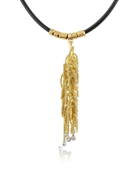 Orlando Orlandini | Black Flirt - Diamond Drops 18k Yellow Gold Thread Pendant W/rubber Lace | Lyst