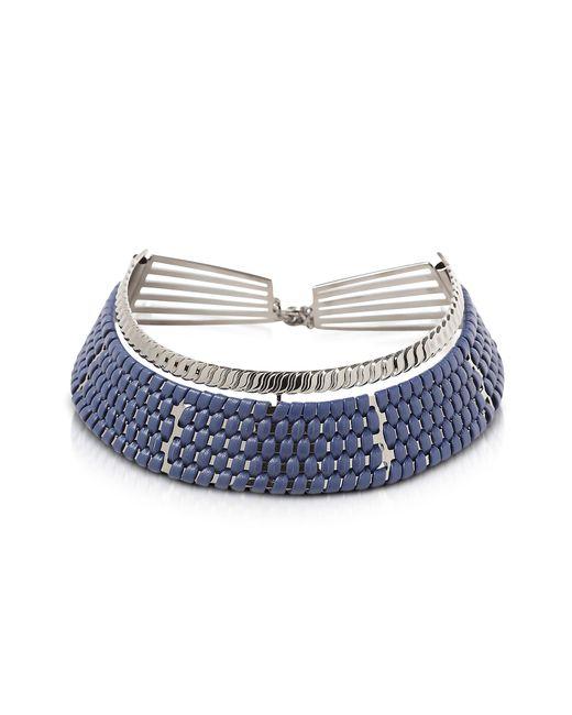Pluma | Brass W/navy Blue Woven Leather Choker In Fumoso | Lyst