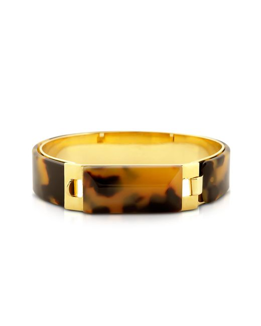Pluma | Metallic Tortoise Resin And Golden Brass Bracelet | Lyst