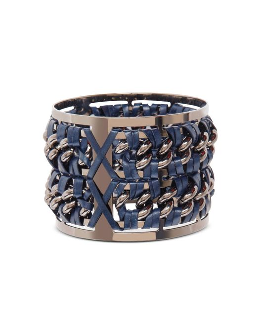 Pluma | Metallic Gunmetal Brass And Navy Blue Leather Large Bangle In Fumoso | Lyst