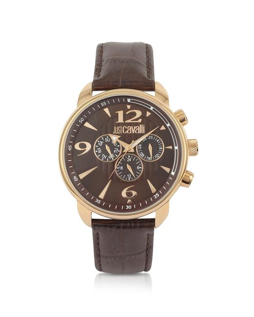 Just Cavalli | Earth - Brown Croco Multifunction Watch for Men | Lyst
