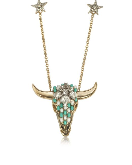 Roberto Cavalli | Metallic Goldtone Brass Long Necklace W/crystals And Mint Green Beads | Lyst