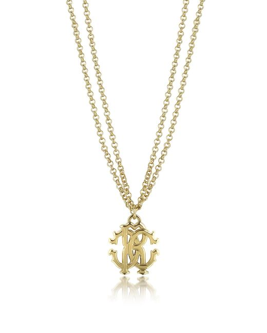 Roberto Cavalli - Metallic Rc Icon Metal Necklace W/double Chain - Lyst