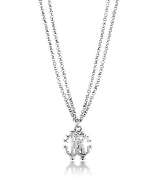 Roberto Cavalli | Metallic Rc Icon Metal Necklace W/double Chain | Lyst