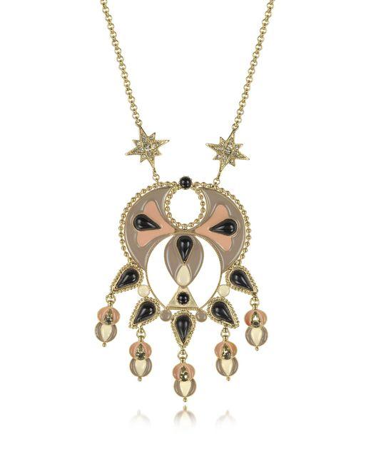 Roberto Cavalli | Metallic Gold-tone And Enamel W/multicolor Crystals Long Necklace | Lyst