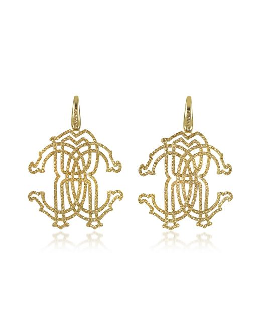 Roberto Cavalli | Metallic Rc Icon Gold Tone Metal Earrings W/crystals | Lyst