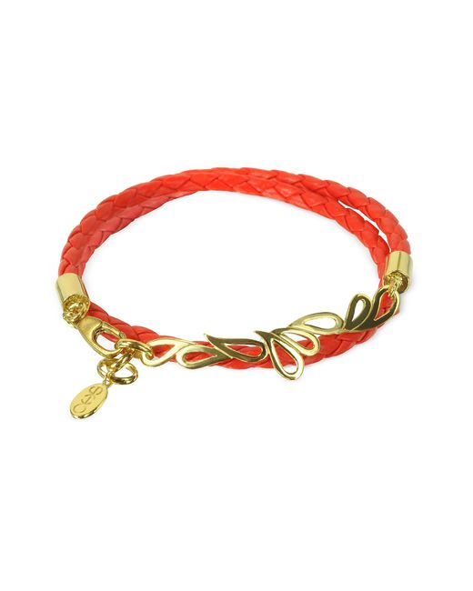 Sho London | Red Mari Fiendship Silver Vermail & Leather Double Bracelet | Lyst