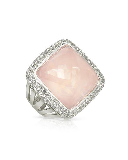 Sho London | Pink 18k Gold V-seal Rose Quartz Victoria Ring | Lyst