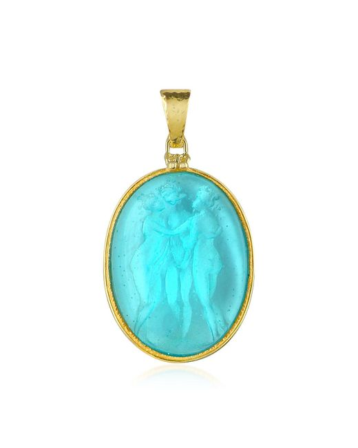 Tagliamonte | Blue Three Graces - 18k Gold Mother Of Pearl Cameo Pendant | Lyst