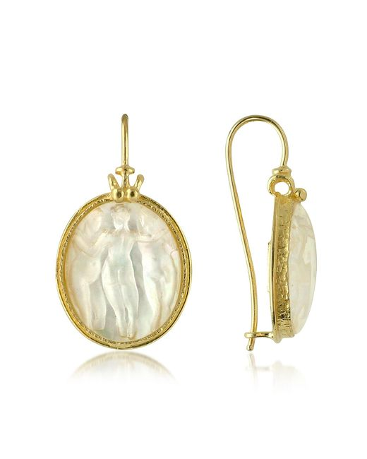 Tagliamonte | White Three Graces - 18k Gold Mother Of Pearl Cameo Earrings | Lyst