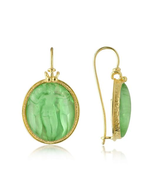 Tagliamonte | Green Three Graces - 18k Gold Mother Of Pearl Cameo Earrings | Lyst